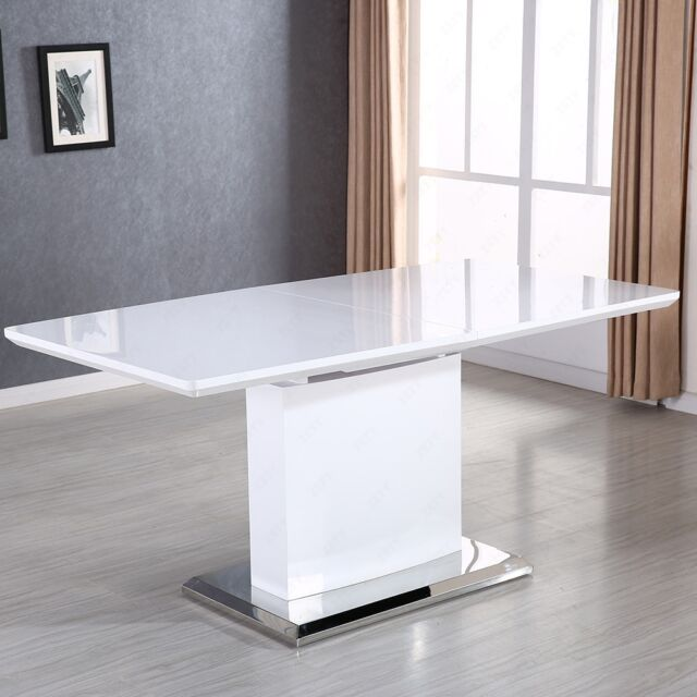 High Gloss White MDF Extendable Dining Table With Stainless Pedestal Bench
