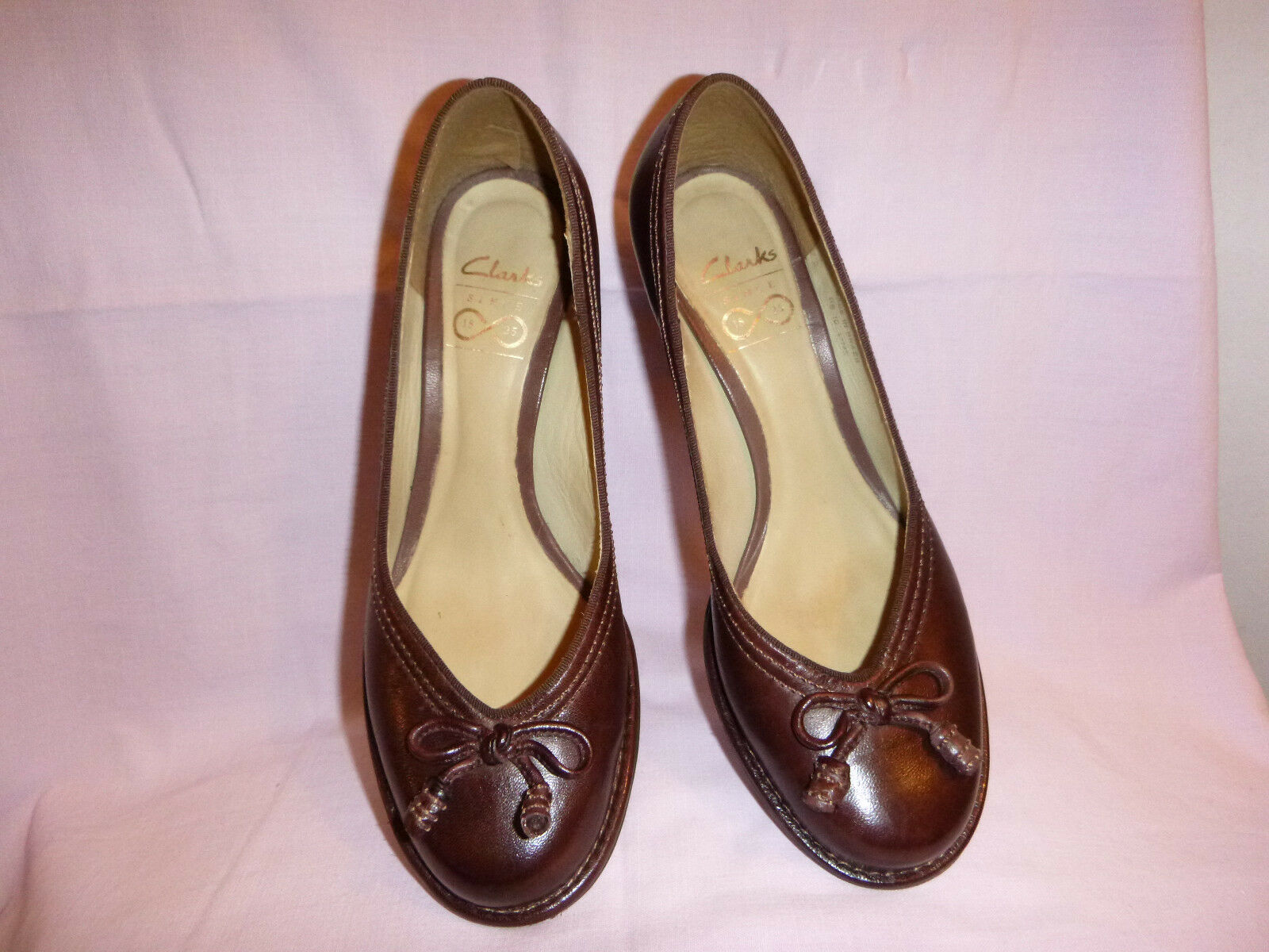 Clarks- brown elegante Pumps Leder Gr.4(37) Weite G Abs-6,5