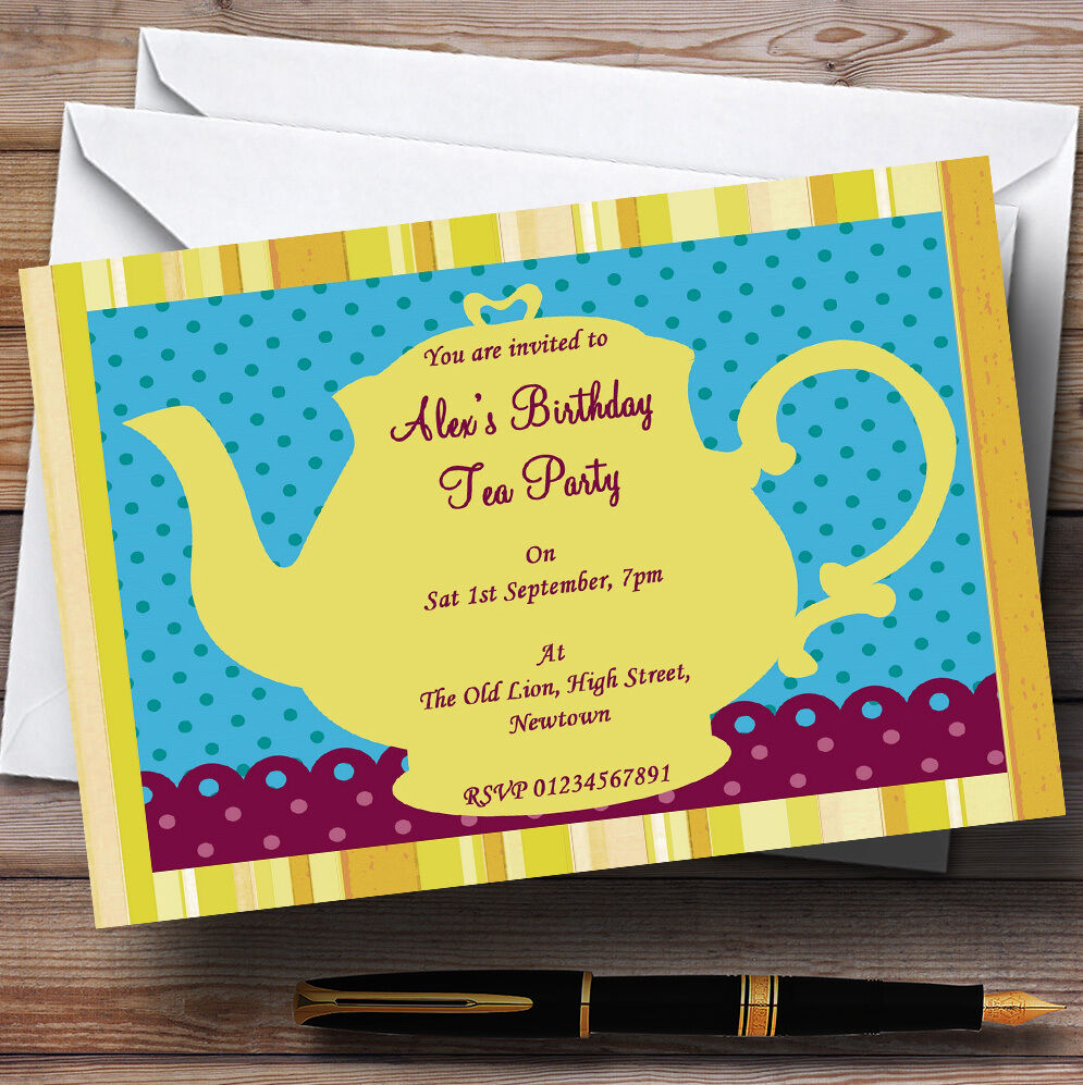 Big Gelb Teapot Vintage Tea Theme Personalised Birthday Party Invitations