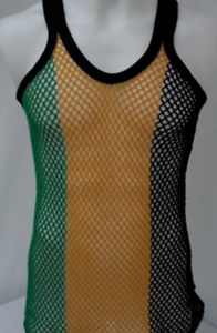 3f66130165c257 UD Accessories 100% Cotton Rasta STRING VEST Mesh Fishnet Fitted Striped Black  Red Green Yellow Colours
