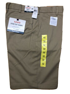 NEW IZOD Saltwater Mens Relaxed Classic Stretch Washed Chino Shorts Size 38 GRAY