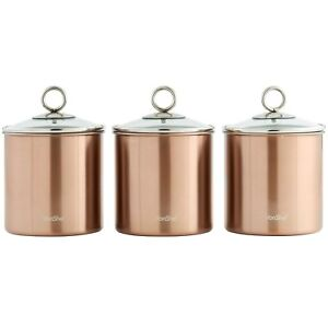 Image Is Loading Set Of 3 Brushed Copper Kitchen Canisters With