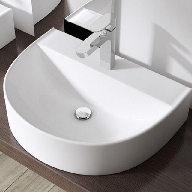 doporro Keramik Aufsatzwaschbecken mit Nano Waschschale Wandmontage Waschbecken