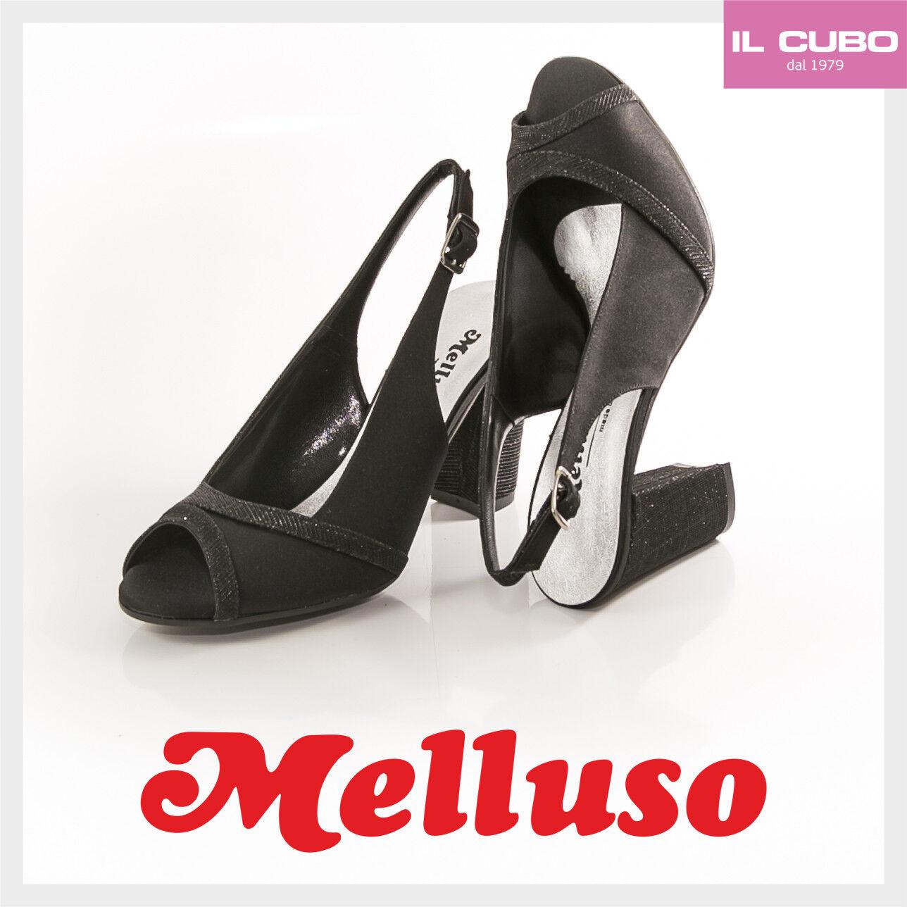 MELLUSO SANDALO Damens SCARPA RASO COLORE NERO TACCO H 8 MADE CM MADE 8 IN ITALY be3f3c