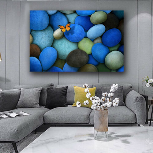 Blue Stone Canvas Painting Wall Art Nordic Posters And Prints Home Decor