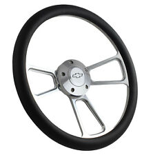 14 Billet Muscle Style Black Grip Steering Wheel With Chevy Bowtie Horn Button