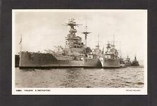 REAL-PHOTO POSTCARD:  HMS MALAYA - BRITISH NAVY BATTLECRUISER with DESTROYERS