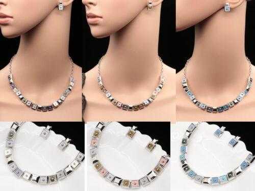 Modern jewelry enamel square choker silver plated chain necklace earrings S67
