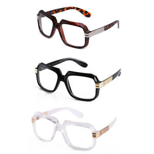 Clear-Lens-Square-Retro-Sun-Glasses-Gold-Metal-Accents-DMC-Square-Classic-New