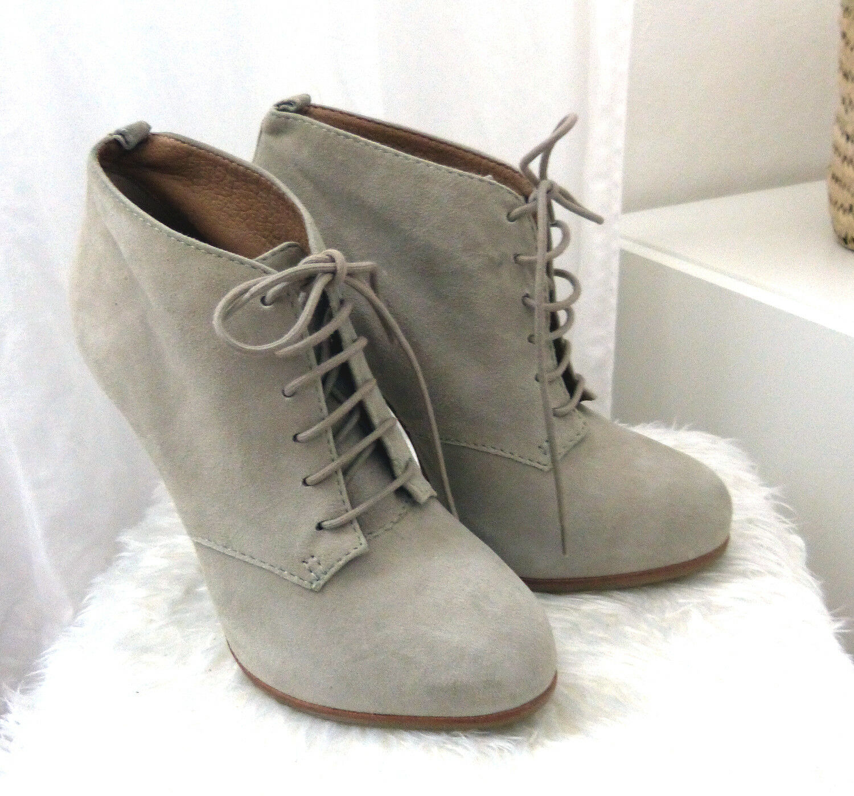 TOPSHOP Wildleder Leder Plateau High Heels Short Stiefelies Grau 36 Made in Brazil