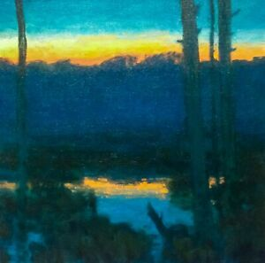 Sunset Square Marsh American Pastoral Oil Painting Landscape Signed Art Original