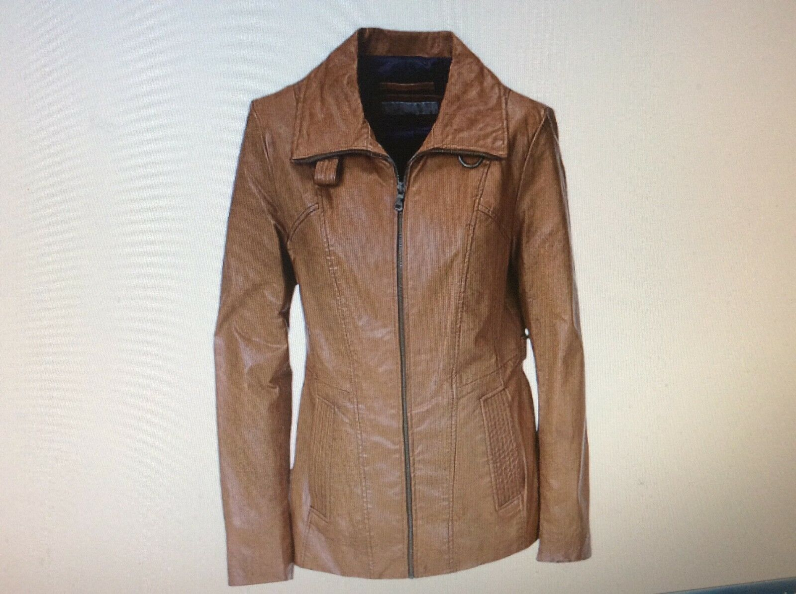 """Brand New Marc NY By Andrew Marc Plus 26""""Leather Zip Front Jkt-Amber-Sz XL,2X,3X"""