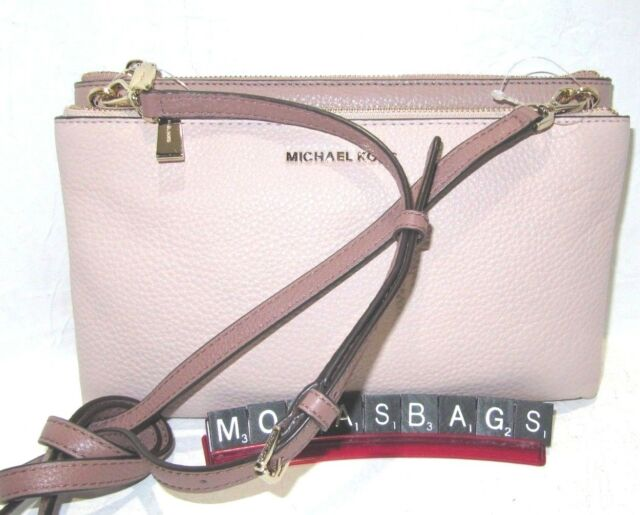 981b5d070b25 Michael Kors Double Zip Crossbody Soft Pink Dusty Rose Fawn Leather NWT  198