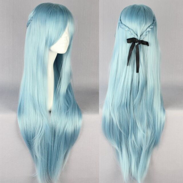 Cosplay Costume Lady Girl Long Wig Full Straight Blue Hair Wigs Game Anime Wig