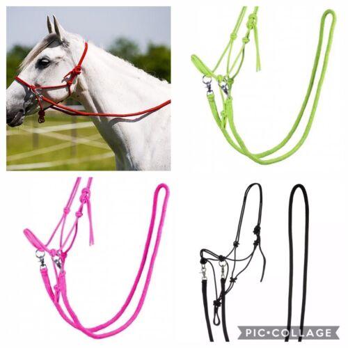 PINK FULL Rope Halter With Reins Parelli Natural Horsemanship Bitless Bridle
