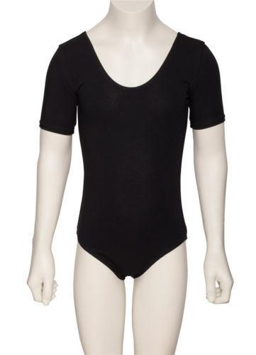 Girls Ladies Black Cotton Short Sleeved Ballet Dance Leotard KDC037 By Katz