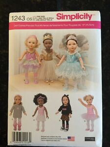 Simplicity-Sewing-Pattern-American-Made-1243-18-Girl-Dolls-Clothes-Ballet