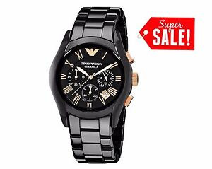 NEW-EMPORIO-ARMANI-AR1410-CERAMICA-BLACK-ROSE-MEN-039-S-WATCH-UK-STOCK
