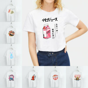 Summer-Ladies-Japanese-Food-Print-T-Shirts-White-Casual-Tops-Crew-Neck-Tops