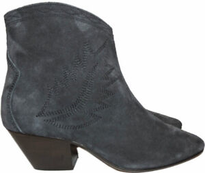 Isabel-Marant-Boots-Dacken-Booties-Embroidered-Suede-Ankle-Gray-Sz-37-Zipper