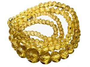 Vintage Art Deco Long Graduating Yellow Crystal Glass Faceted Bead Necklace 32""