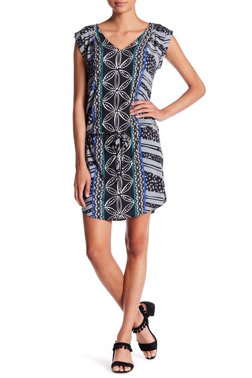 NWT TORI RICHARD Talatoo Sz XXS Printed Dress V Neck Cap Sleeve Multi Farbe