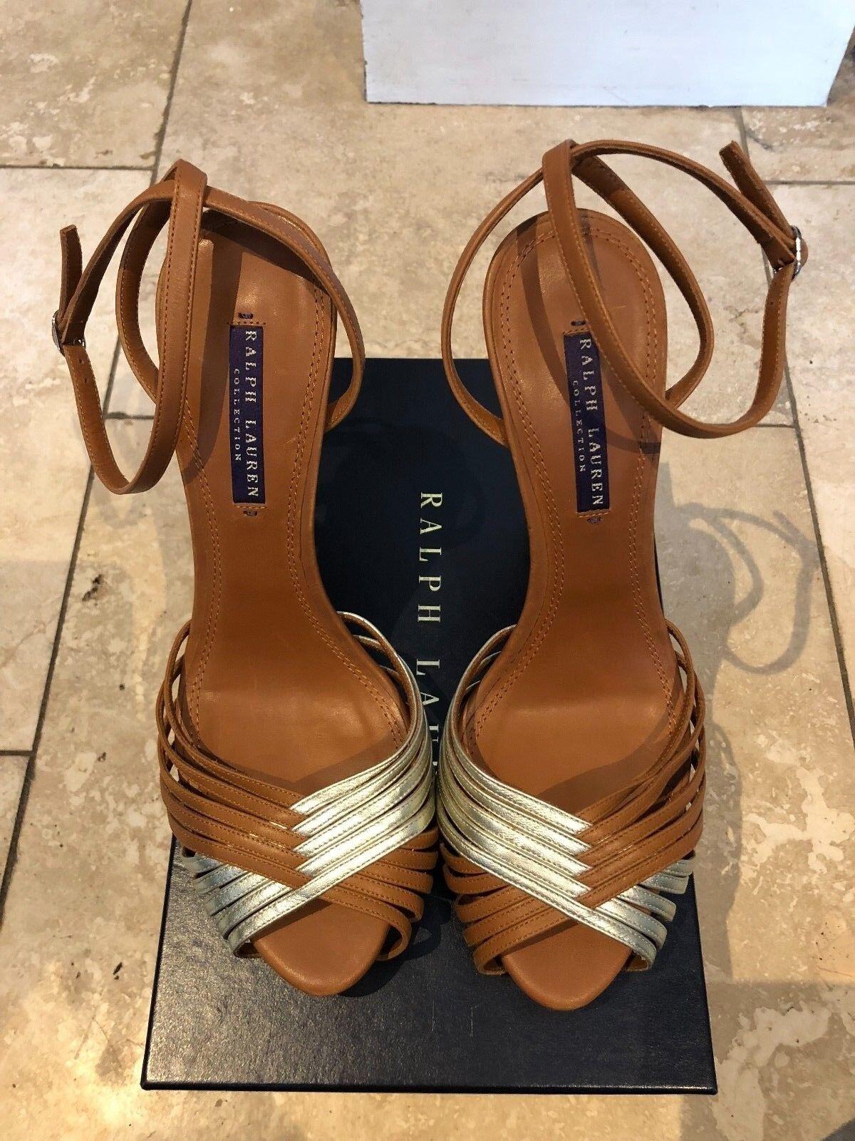 Ralph Lauren Collection Criss Cross Scarpe Sandalo in pelle marrone e argento tacco 10B