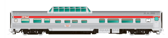 RAPIDO 1/87 HO C.P. RAIL ACTION RED BUDD MID-TRAIN DOME CAR # 510  # 1160020 F/S