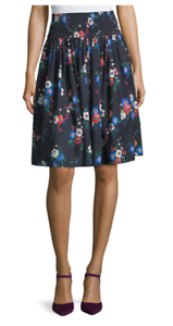 348 NWT TORY BURCH BLAIRE PANSY BOUQUET FLORAL PRINT  SKIRT blueE SILK WOOL SZ10