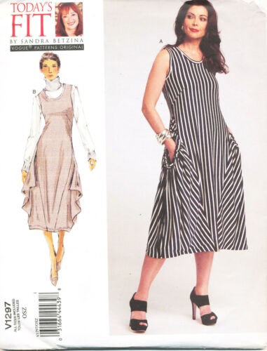 PLUS SIZES VOGUE SEWING PATTERN 1297 MISSES 10-32 LOOSE-FITTING PULLOVER DRESS