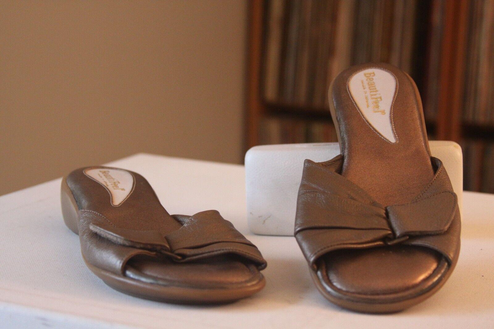BeautiFeel 37 Pineapple Bronze Leather Buckle Strap Sandals Size 6-6.5