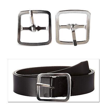 2 Pezzi Di 25mm Argento Cintura Quadrato Fibbie Metallo Per Abbigliamento Denim