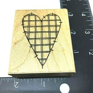 Plaid Stitch Valentine Country Heart Rubber Stamp by JRL Design Wood Mount
