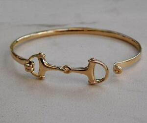 627cddf802de1 Details about Beautiful Solid 14K Gold Small Women And Men's Horse Snaffle  Bit Bangle Bracelet