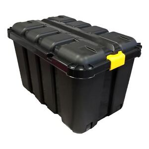 Image is loading 145L-HEAVY-DUTY-BLACK-PLASTIC-DIY-TRUNK-STORAGE-  sc 1 st  eBay & Details about 145L HEAVY DUTY BLACK PLASTIC DIY TRUNK STORAGE TOOL BOX COMPLETE WITH V GROOVE