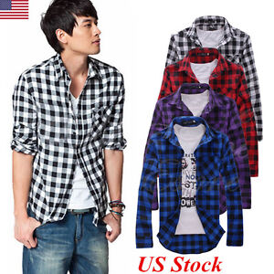 US New Mens Check Plaid Shirt Cotton Long Sleeve Slim Work Casual Top Size M-XXL