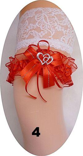 Braut Strumpfband XXL bis 80 cm rot mit 2 Herzchen und Silbernaht Hochzeit