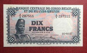 Humoristique Congo Belge - Belgique - Magnifique Billet De 10 Francs Du 01-02-1957 Des Biens De Chaque Description Sont Disponibles
