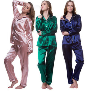 3ffdedddded Image is loading 2pcs-Ladies-Pyjamas-Set-Silk-Sleepwear-Long-Pajamas-