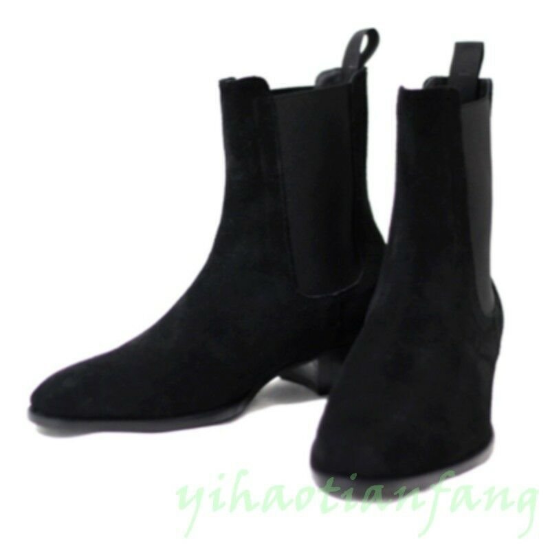 Hot Mens England Pointed Toe Suede Ankle Boots Chelsea shoes Pull On Formal fdsd