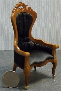 Dollhouse-Miniature-Walnut-Desk-Chair-Lincoln-1-12-inch-scale-K82-Dollys-Gallery