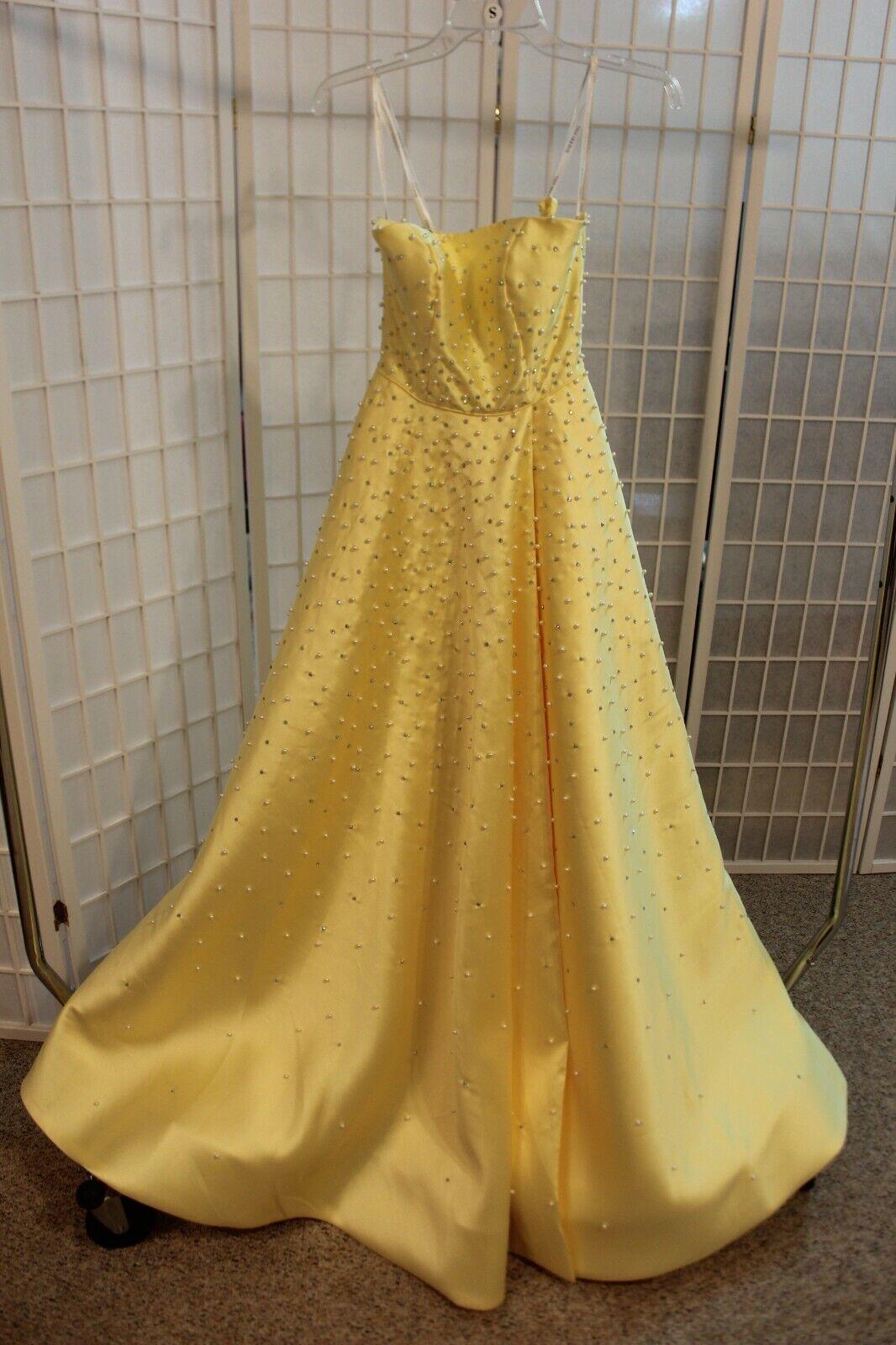 NWT Sherri Hill 53421 Yellow size 00 Mikado Pearl and rhinestone long formal