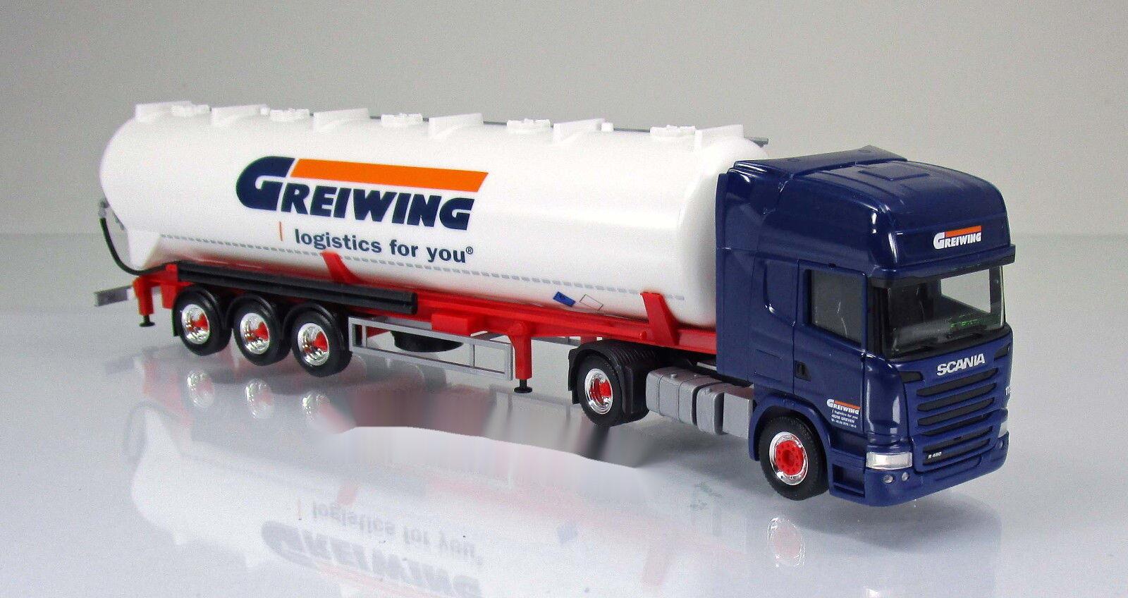 Herpa 306195 Scania R TL CDR Silo Semi-remorque camion GREIWING Scale 1 87 Nouveau neuf dans sa boîte