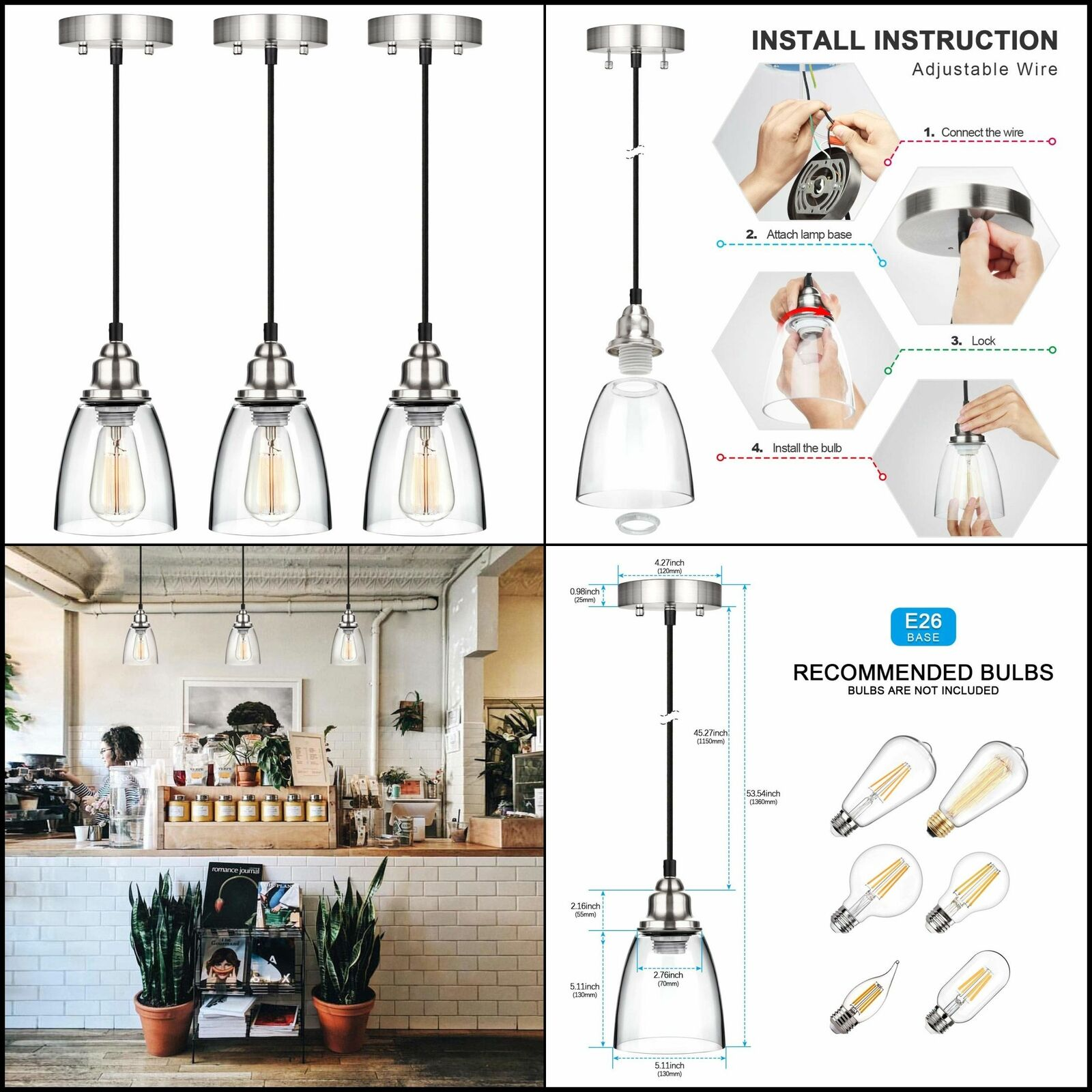 3pc Kitchen Island Pendant Lighting Clear Glass Shade Hanging Light Fixture Lamp