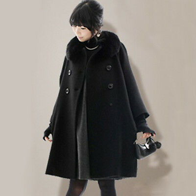 New Fur Collar Womens Coat Plus Size Cashmere Long Jacket Overcoat cloak S-5XL