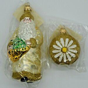 1998 New Patricia Breen Christmas Ornament Santa of the Daisies # 9899 Gold Yr