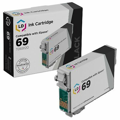 4pk T069 Reman BLACK COLOR Ink Cartridge for Epson T0691 Workforce 610 600 1100