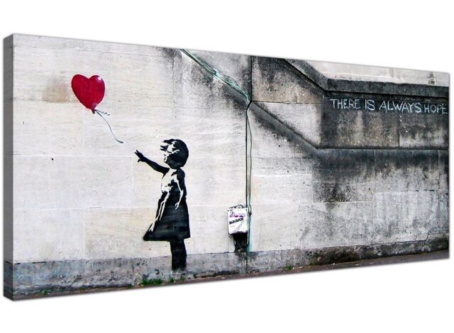 Red Cheap Canvas Wall Art of Banksy Balloon Girl 1050