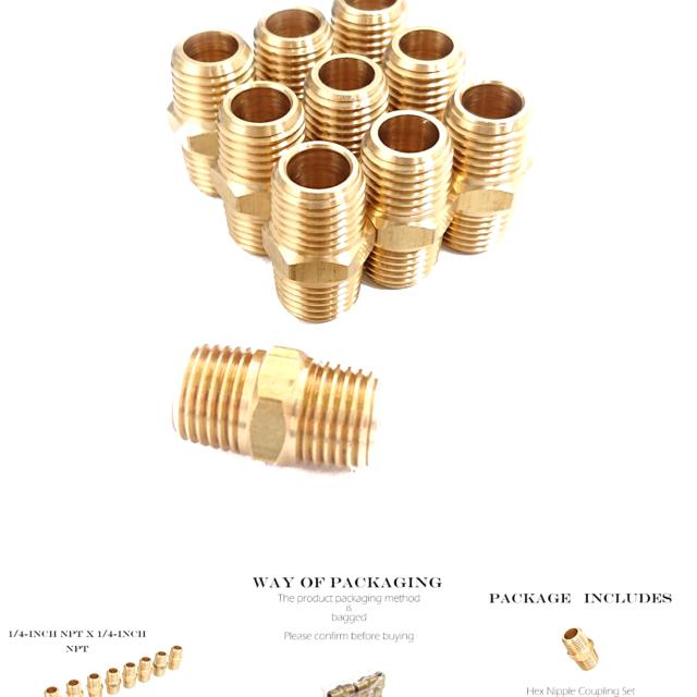1//4-Inch NPT x 1//4-Inch NPT 10 Pie... Brass Male Pipe Hex Nipple Coupling Set