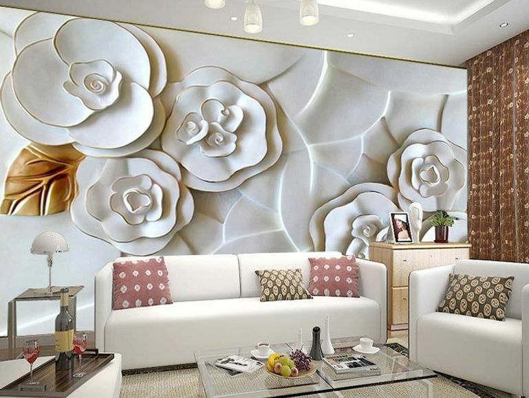 Huge 3D Phnom Penh Flowers Relief Wall Paper Wall Print Decal Wall Deco Indoor
